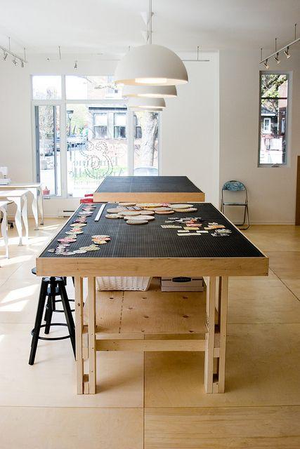 work table   4ft x 8ft. Add cubbies for tape, scissors, glue guns etc