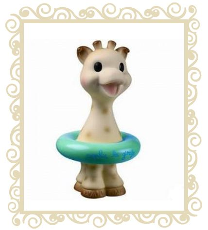 Sophie the Giraffe Bath Toy  For lots of bath time fun and splashing Sophie the Giraffe Bath Toy! Here comes Sophie the Giraffe again, this time as a floating, squirting toy for baby to play with in the bath. She squirts water when squeezed. Made from phthalate-free Vinyl. 6 months + Comes in a gift box  $21.95