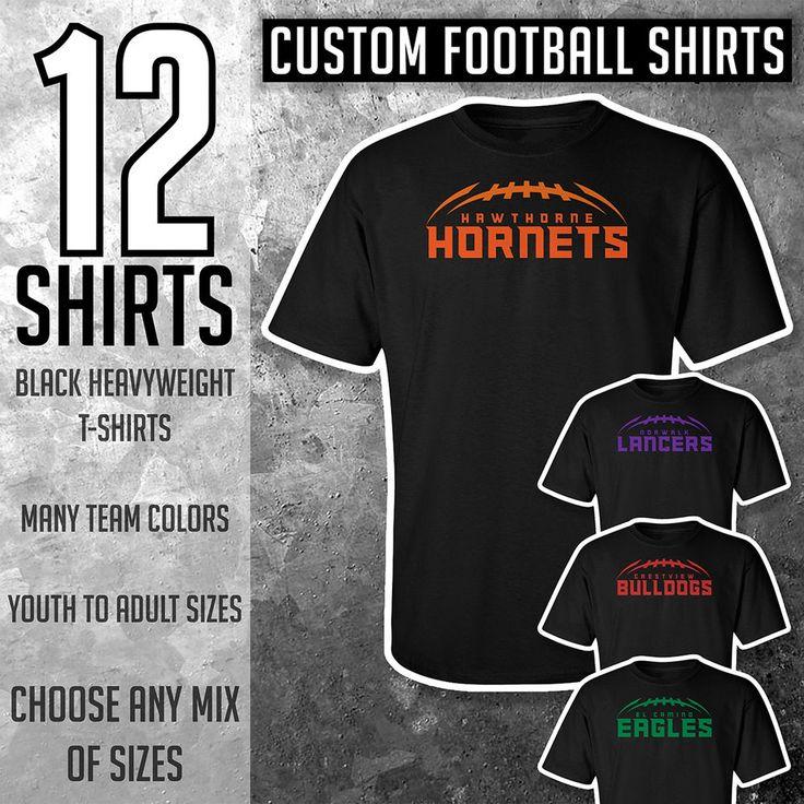 12 Custom Football Shirts **** Black Tees **** #football #team #pop #warner #popwarner #nfl #patriots #giants #cowboys #norwalklancers