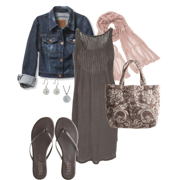 linen dress, jean jacket: Fashion, Summer Outfit, Jeans Jackets, Style, Clothing, Denim Jackets, Flip Flops, Summer Nights, The Dresses