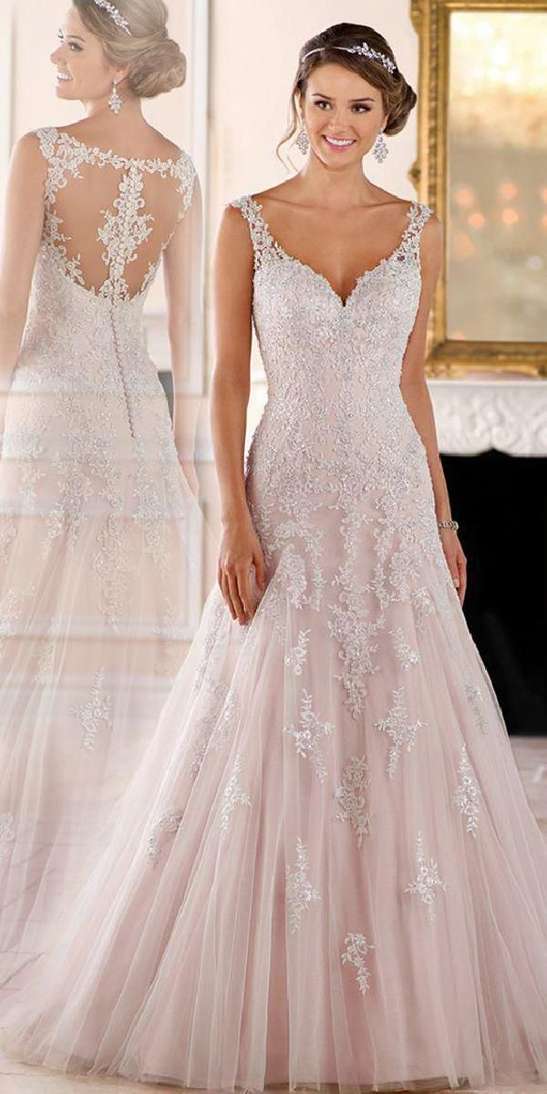 Customized Luxurious V-Neck Wedding Dress, Wedding Dress With Appliques, A-Line Wedding Dress, Wedding Dress Lace