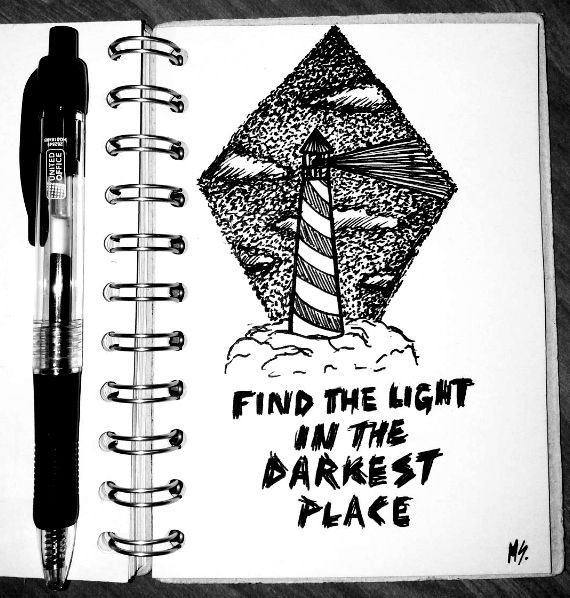 More on my IG: @maggie_creates_  find the light in the darkest place lighthouse drawing ink