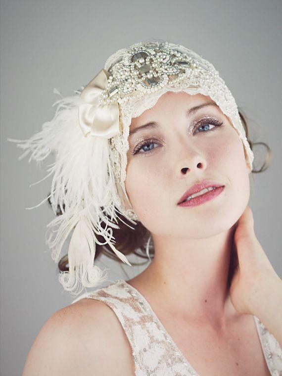 Gatsby Ivory Lace Flapper Feather Headband : Bridal : Deanna DiBene Millinery