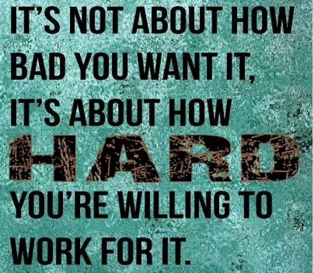 It's not about how bad you want it, it's about how hard you're willing to work for it!