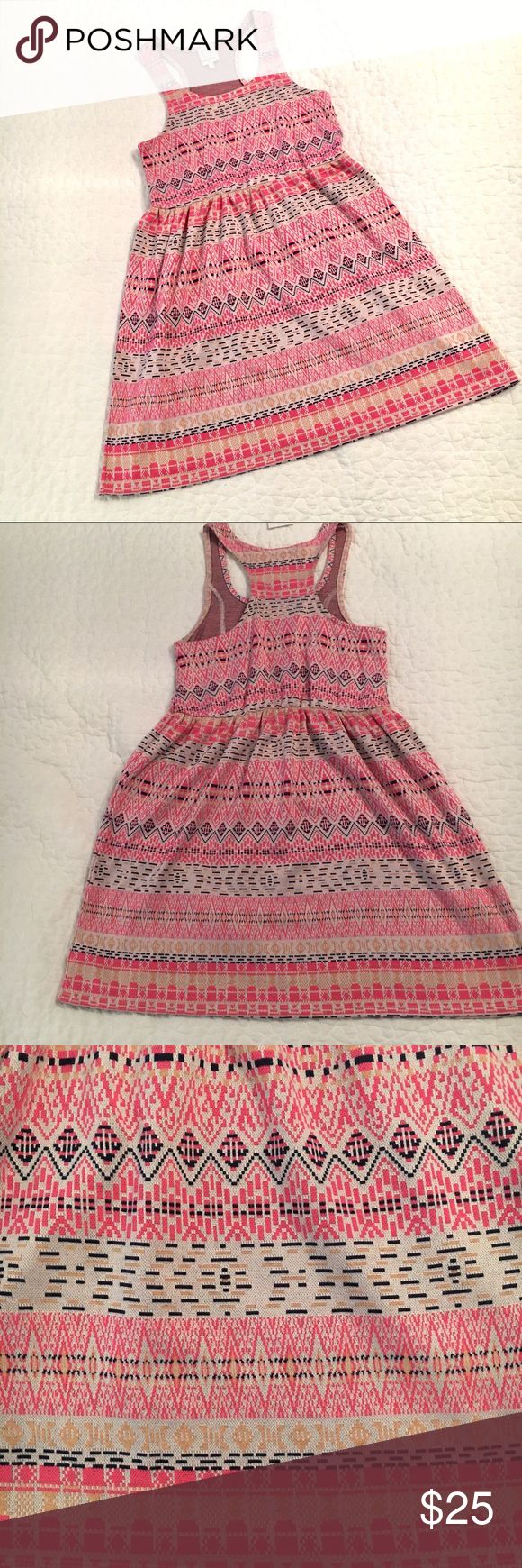 NWT Ella Moss Girls Coral Pink Dress Size 14 NWT Girls Ella Moss Dress Size 14.  Beautiful colors, chic design.  62% Cotton 38% polyester.  Wear now with tights/boots and a jacket or layer with a shirt under.  Wear later with Ballet Flats or sandals. Ella Moss Dresses