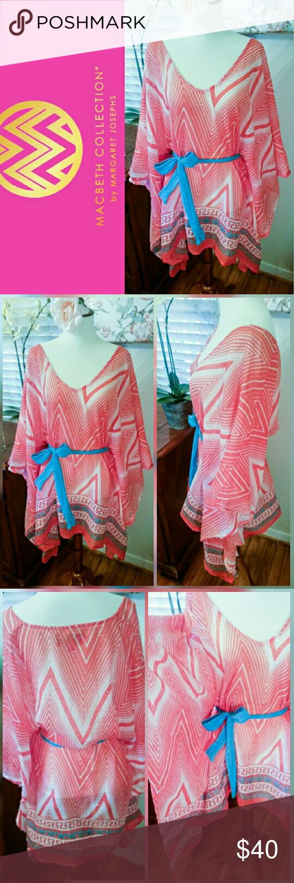 """Macbeth Collection Caftan style summer tunic Macbeth Collection by Margaret Josephs Caftan  style summer tunic in coral with turquoise accents. Excellent condition.   Perfect breezy top for pool or beach days!! ♡  Turquoise tie belt fully detachable.  Measures 29"""" long in front  32"""" long in back 20"""" across at underarms  Flowy open drape.   95% Cotton 5% Lurex  Machine wash.  *TAG READS M/L FOR SIZE* Macbeth Collection Tops Tunics"""