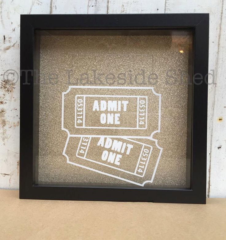 Admit One Fun Events Ticket Cinema Stub Memory Box Shadow Frame Drop Box Memories