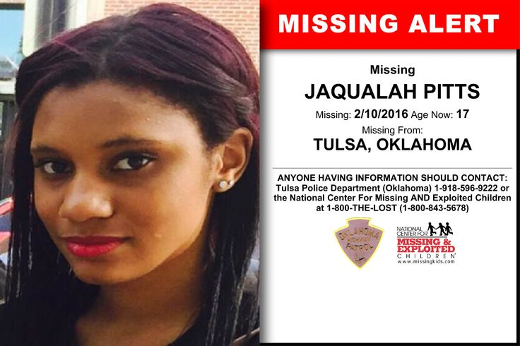 JAQUALAH PITTS, Age Now: 17, Missing: 02/10/2016. Missing From TULSA, OK. ANYONE HAVING INFORMATION SHOULD CONTACT: Tulsa Police Department (Oklahoma) 1-918-596-9222.