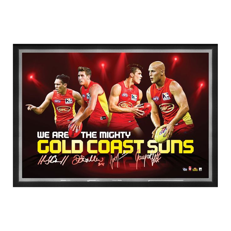 GOLD COAST SUNS FOUR PLAYER FACSIMILE SIGNED SPORTSPRINT Unique tribute to the stars of the Gold Coast Suns Football Club Features action images and the digitally reproduced signatures of club stars Gary Ablett Jr, Jaeger O'Meara, Harley Bennell and David Swallow Presented in a matted deluxe timber frame Officially licensed by the AFL Approx framed dimensions 780mm x 580mm
