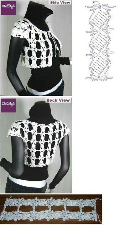 Crochet bolero of short jacket