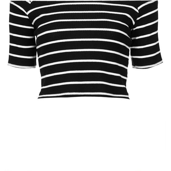 TOPSHOP Rib Stripe Bardot Top (210 SEK) ❤ liked on Polyvore featuring tops, crop tops, topshop, shirts, monochrome, black white striped shirt, black and white shirt, cotton shirts, striped crop top and short sleeve shirts