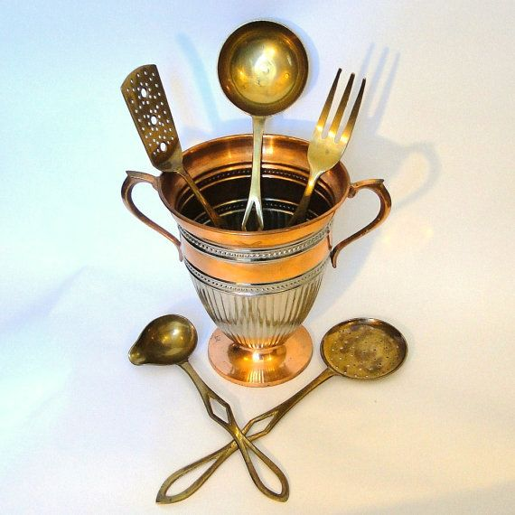 Vintage Brass Serving Utensils Aged Patina by BelatedDesigns, $48.00