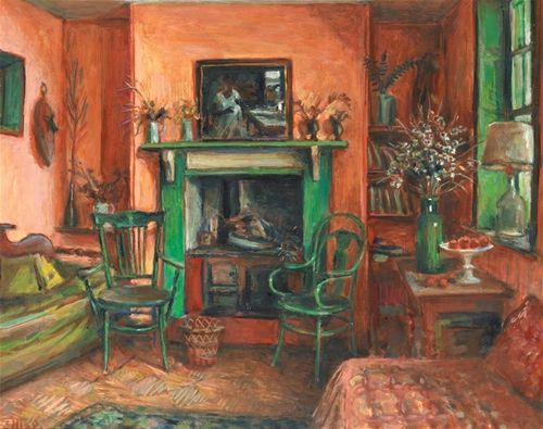 Interior with green fireplace by Margaret Olley 1972