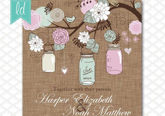 Mason Jar Wedding Invitation Printable 5x7 Pastels Pink Blue on Brown Linen - Birthday - Baby Shower Invitation - Bridal Shower Invitation on Etsy, $15.00