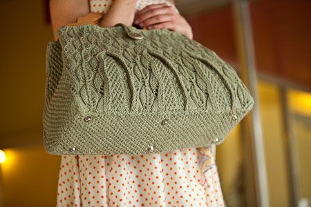 Lacy Leaf Satchel - Knitting Daily