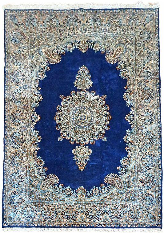 6' 7 x 9' 10 Navy Blue Kerman Persian Rugs