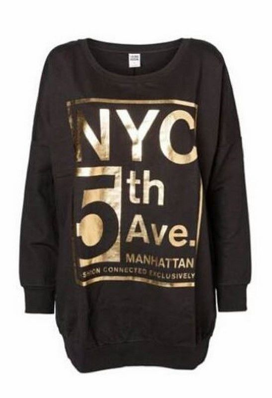 Fifth Ave Long Sleeve Sweater | 27 Boutique   A super comfy & slouchy black sweater with gold foil graphics on the front. It's nice and long - great with tights. This black & gold beauty is great paired with distressed denim too!