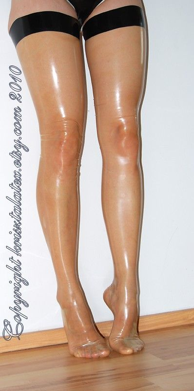 latex stockings. needs these in my size, possibly tinted for dark skin.