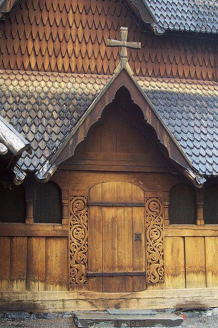 Wood church door. Norway