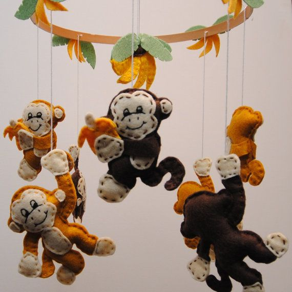 This mobile is bright and fun,  Your baby or toddler will be delighted by the 8 monkeys swinging around the ring.  There are 4 monkeys holding