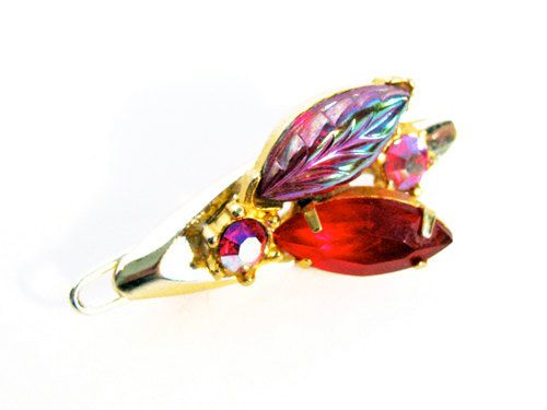 Vintage Red Aurora Borealis Rhinestone Hair Clip by MyChouchou, $6.50