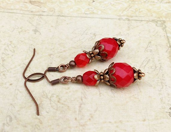 Red Earrings Dark Red Earrings Siam Earrings Copper