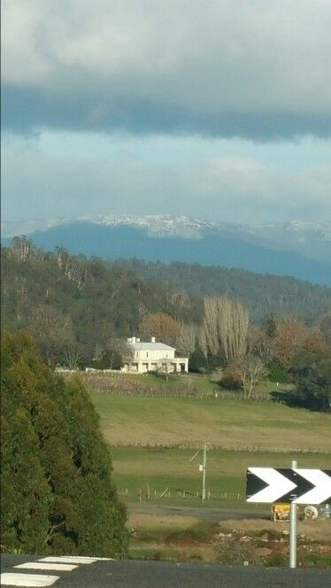 Snow on the western tiers Deloraine..