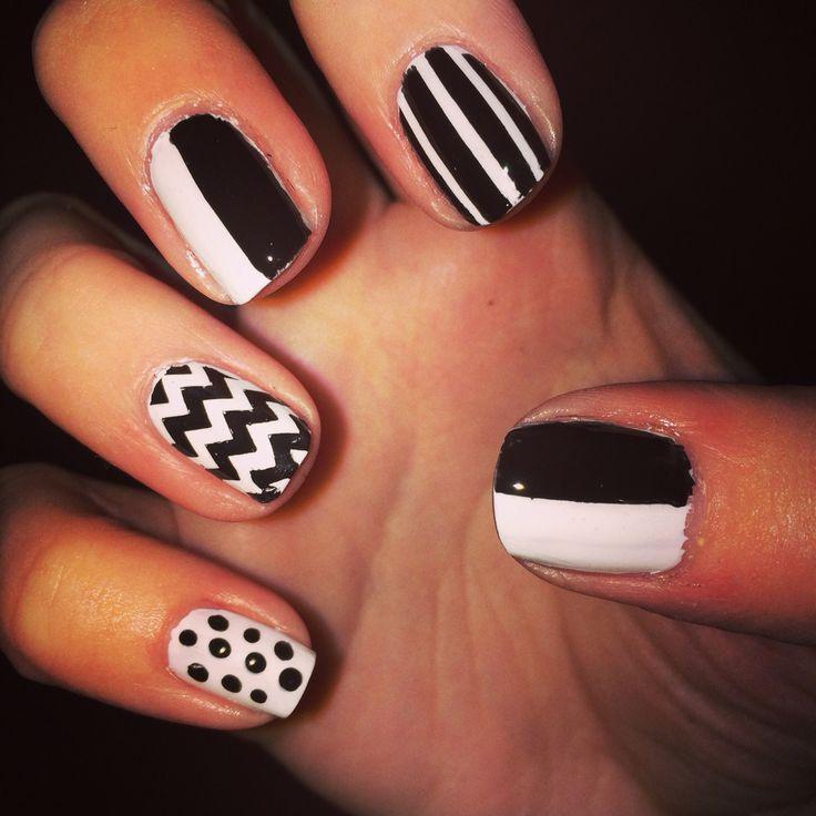 Black and white nails. Chevron, polka dots, stripes