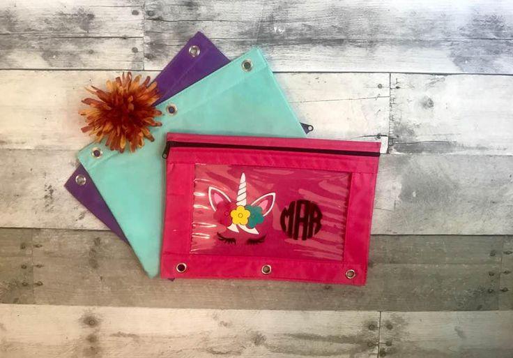 Unicorn School Supplies / Monogram pencil case / Pencil Pouch / Pencil Cases for Girls / Unicorn Gifts / Back to School by CaffeineAndWine on Etsy