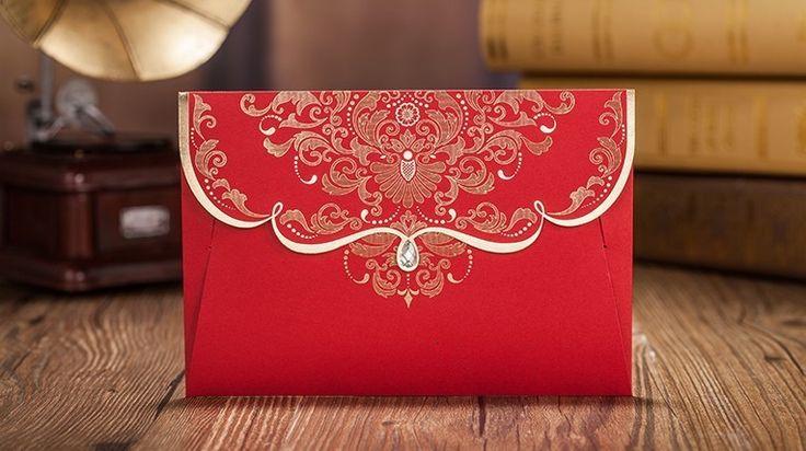 Aliexpress.com: Comprar Oro la flor invitaciones de boda con el diamante 2015 otoño rojo estilo chino invita tarjeta + página interior + sobre de envío de impresión de tarjeta clon fiable proveedores en Sweet Wishmade Wedding