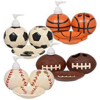 The perfect bathroom accessories for any sports lover. Dolomite bathroom accessories come assorted among football, soccer, baseball, and basketball designs, and among soap dish, lotion dispenser, and