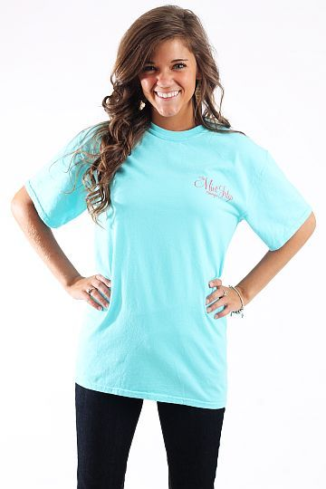 Mint Julep T-shirt, aqua $18.00 These t-shirts are comfort colors brand and are super comfy featuring gorgeous colors!   Front says: The Mint Julep boutique  Back says: Shop the Mint Julep Boutique, Everybody's doing it.