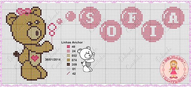 Oi 😊 vim trazer para vocês um gráfico de ursinhos que fiz acompanhado de monograma.   Bons bordados tenham um ótimo dia.                  ...