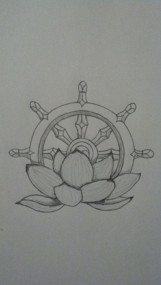 Dharma lotus eightfold wheel tattoo
