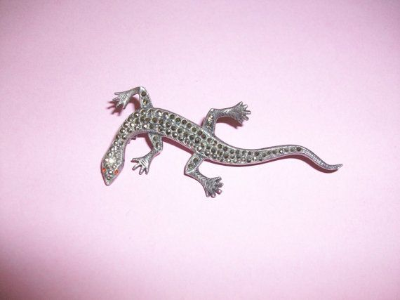 25 OFF SALE Vintage Sterling Silver Marcasite Lizard by MICSJWL, $29.25