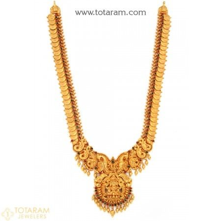 22K Gold Lakshmi Kasu Long Necklace Temple Jewellery