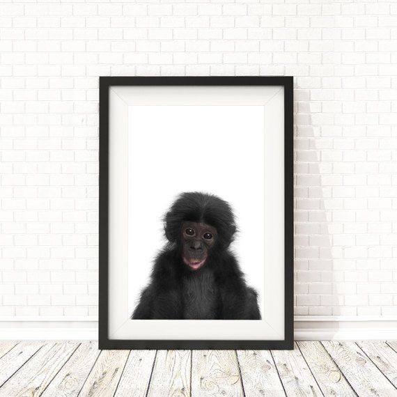 Monkey print Nursery decor Safari animal by BatLabPrintables