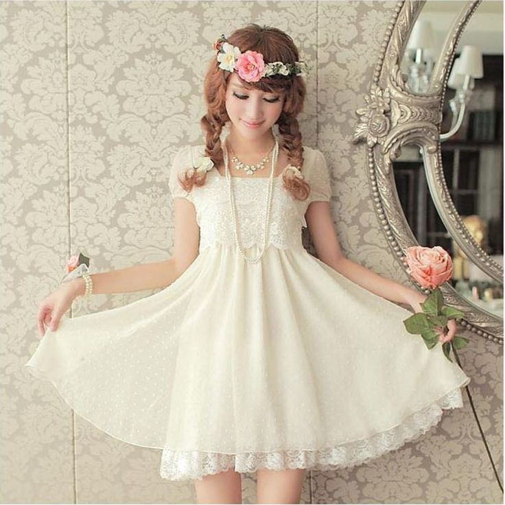 cute white dress with lace sweet looking japanese fashion ...