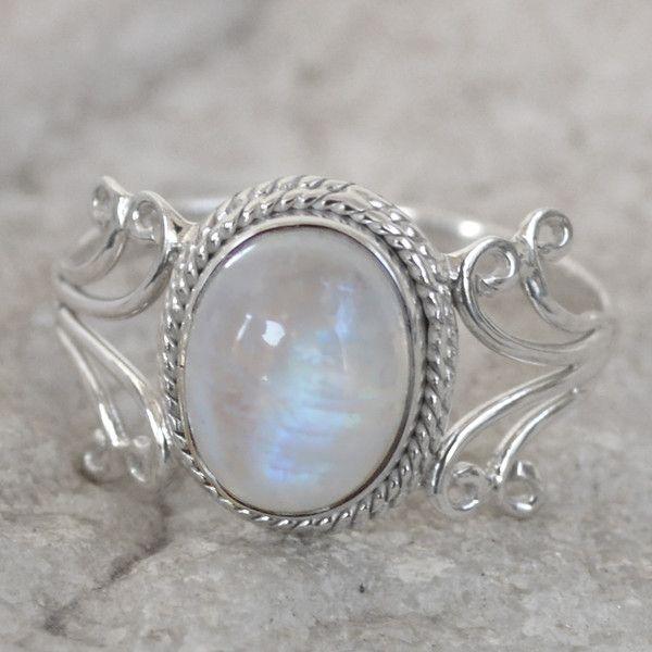 925 Sterling Silber Mondstein Ring BNR16 von Edelstein-Schmuck auf DaWanda.com