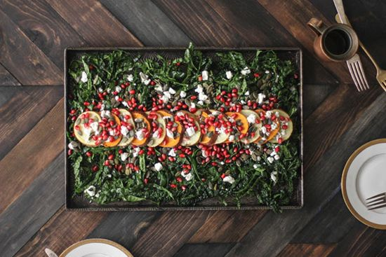 Roasted Sweet Potato, Pomegranate & Massaged Kale Salad