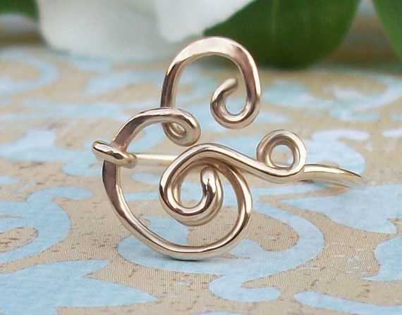 And... Ampersand Ring Sterling Silver or Gold Filled by wirewrap