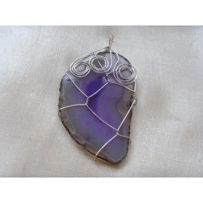 Wire wrapped purple Agate pendant, 70mm