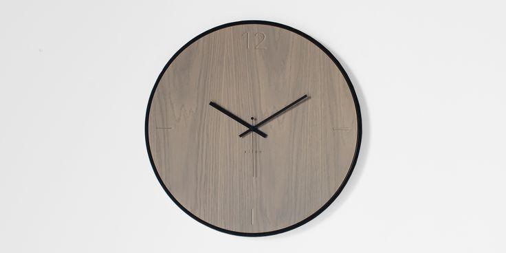 natural oak grey wall clock | xline