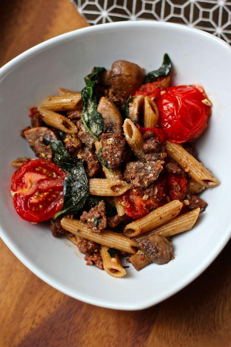 Simple Vegan Italian Sausage & Pasta Dinner - featuring Upton's Natural Italian Sausage Seitan