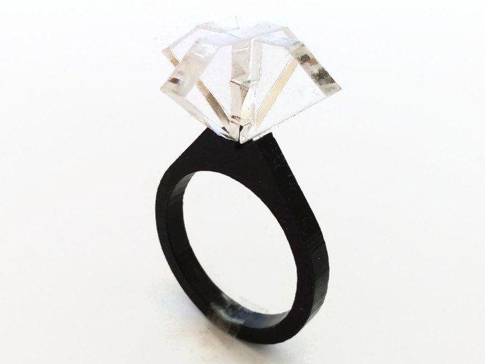 Laser cut acrylic solitaire diamond ringclear ringdiamond engagement ringgeek engagement ringcolor engagement ringgeek ring