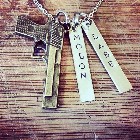 Molon Labe-hand stamped necklace on Etsy, $25.00