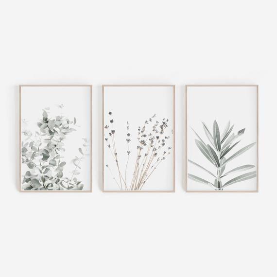 Prints Set, Wall Art Set, Print, Lavender, Eucalyptus Print, 3 Prints Set, Botanical Prints, Botany, Wall Decor, Lavender, Farmhouse Decor