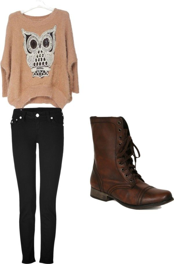 """Owl Sweater, Rinse Skinnies and Brown Combat Boots - """"fall outfit"""" by kaligirl4 ❤ on Polyvore"""