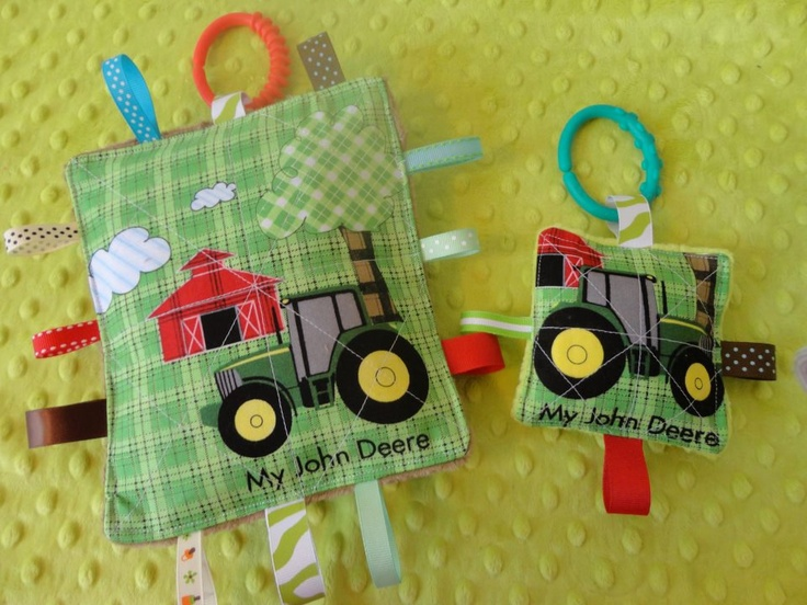 Baby Boy Toys set of two, My John Deere licensed fabrics, 7 inch and 5 inch crinkle toys. Gift wrapped.. $9.99, via Etsy.