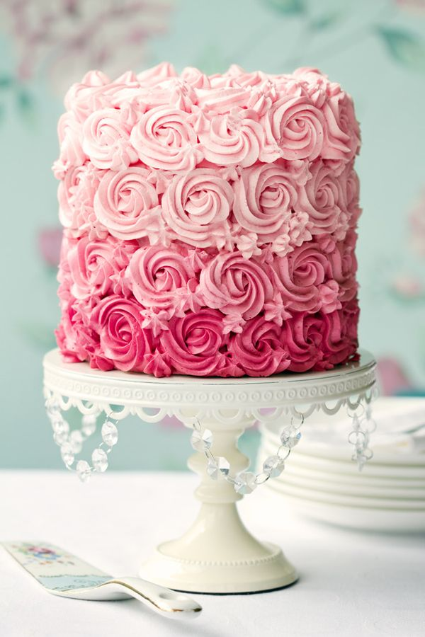 I think this would be perfect for a baby or bridal shower --  the ombre fluffy white cake in pink pastels